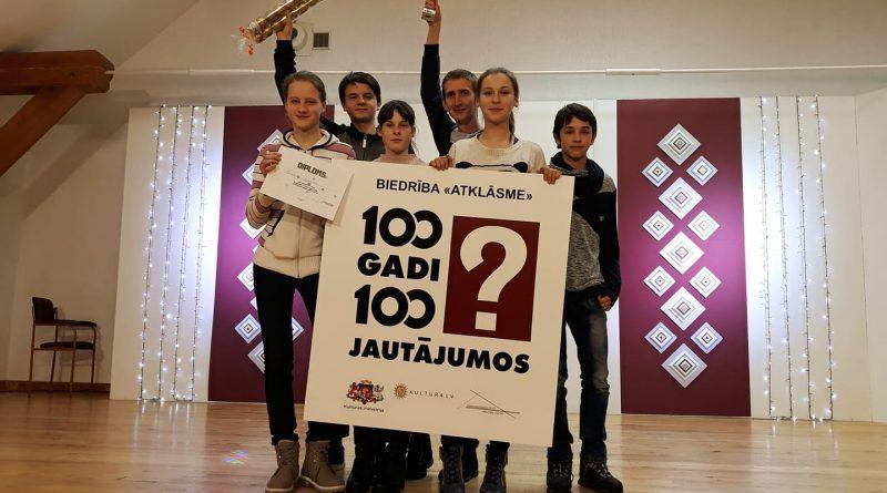 """Kalkūnes pagasta jaunieši iegūst 3. vietu Daugavpils novada jaunatnes intelektuālajā spēlē """"100 JAUTĀJUMI PAR LATVIJU"""""""